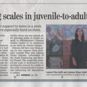 YSRP And Kids In The Adult Criminal Justice System Profiled In Philadelphia Inquirer