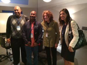 WHYY's Marty Moss-Coane with Pa. Corrections Secretary John Wetzel, freed juvenile lifer Tyrone Jones and YSRP Co-Director Lauren Fine